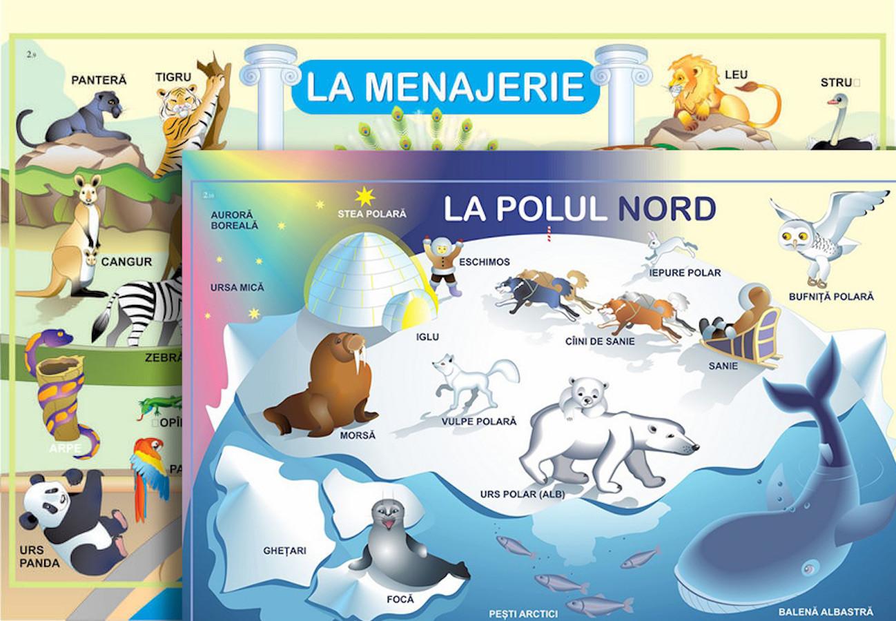 Planșă. La menajerie + La Polul Nord