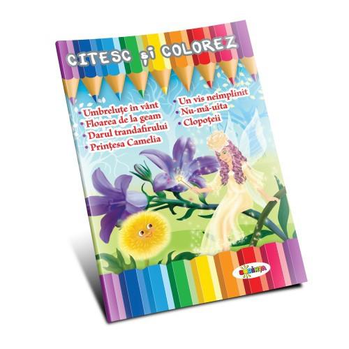 Citesc și colorez - Umbreluțe în vânt