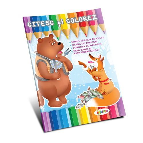 Citesc și colorez - Ursul păcălit de vulpe