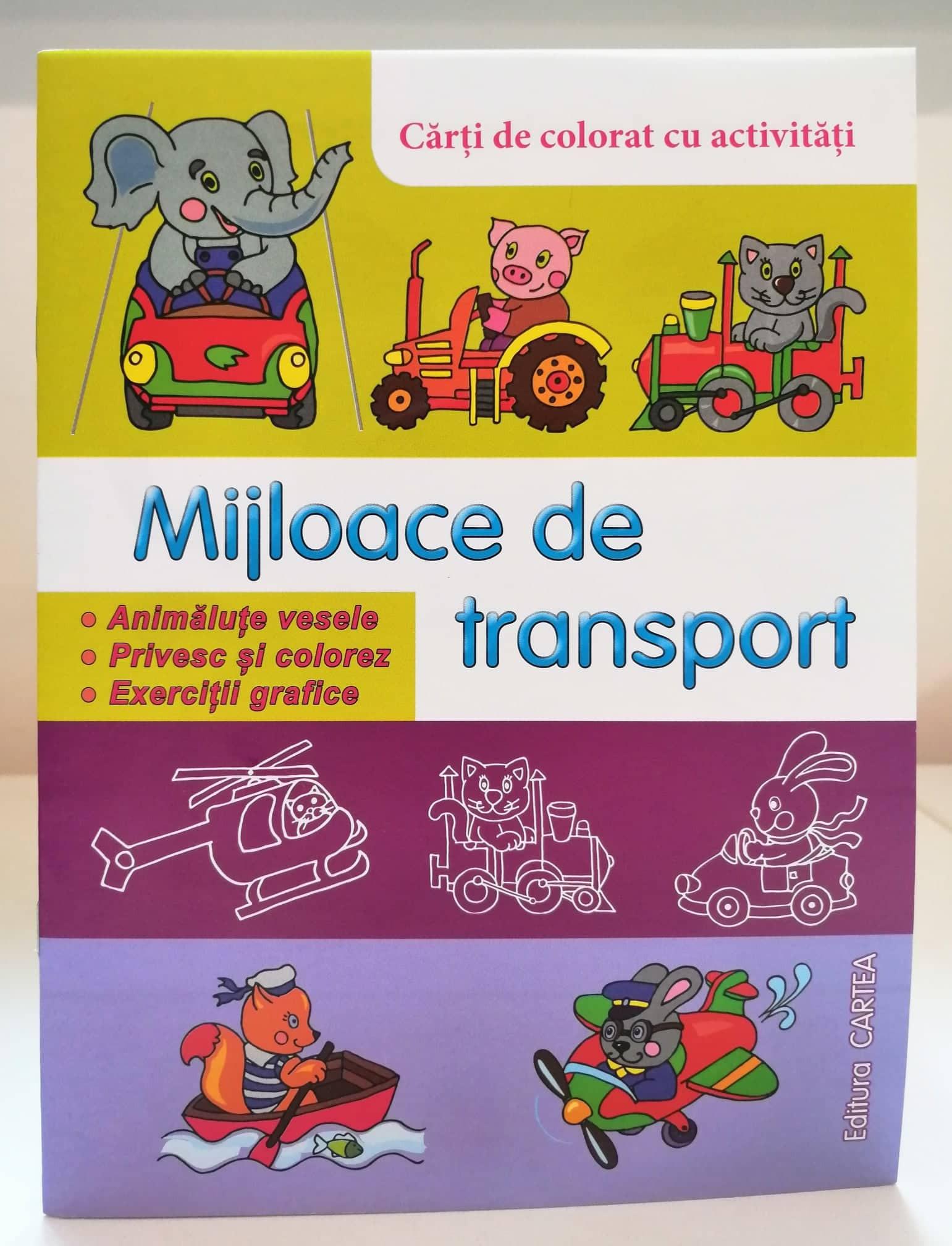 Mijloace de transport  Cărți de colorat cu activități