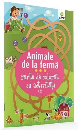 Animale de la fermă. Carte de colorat cu activități (3 ani)
