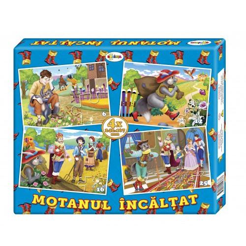 Puzzle Motanul încălțat (4 imagini în cutie)