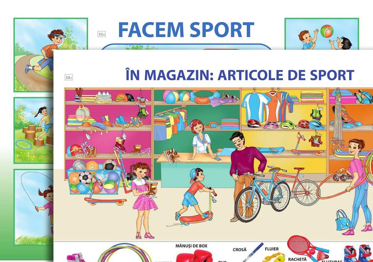 Planșă. În magazin: articole de sport + Facem sport