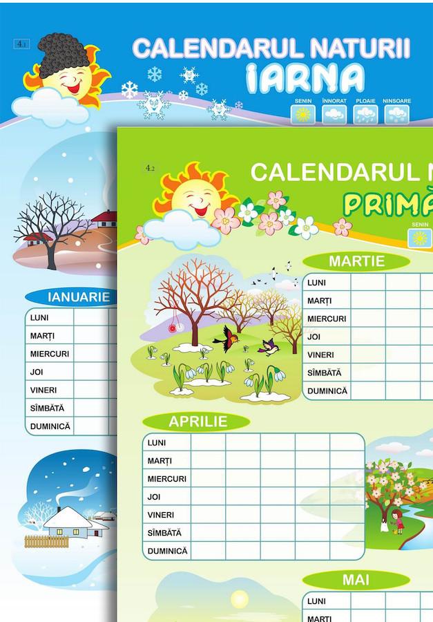 Planșă. Calendarul naturii. Iarna + Primăvara