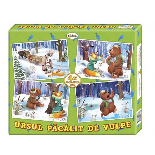 Puzzle Ursul păcălit de vulpe (4 imagini în cutie)