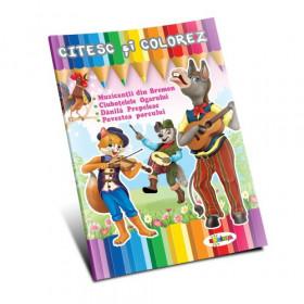 Citesc și colorez - Muzicanții din Bremen