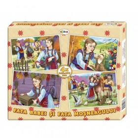 Puzzle Fata babei și fata moșneagului (4 imagini în cutie)
