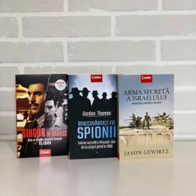"""Pachet Promoțional """" Singur în Damasc. Viaţa şi moartea spionului israelian Eli Cohe"""", """"Binecuvântați fie spionii. Istoria secretă a Mossad-ului de la origini până în 1999"""",  """"Arma secretă a Israelului""""."""