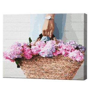 Geantă de paie cu flori, 40х50 cm (pictură pe numere)