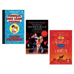 """Pachet Promoțional """"Câinele care a salvat lumea"""", """"Poveste incredibilă a lui Enzo"""" și """"Jurnalul unui câine poznaș"""""""