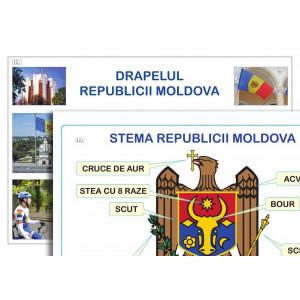 Planșă. Drapelul Republicii Moldova + Stema Republicii Moldova