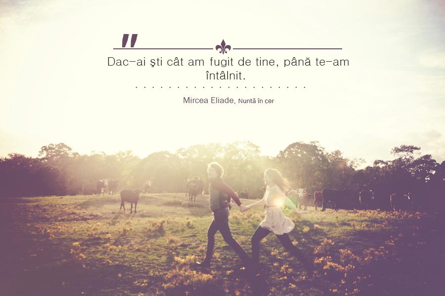 """Mircea Eliade citat din Nunta in cer """"Dac-ai şti cât am fugit de tine, până te-am întâlnit."""""""